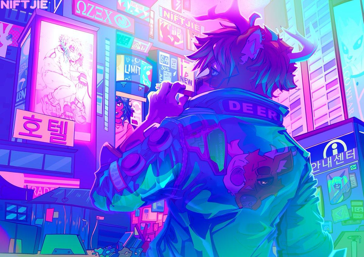 Cyberpunk themed commission for Lockhart.  #art #digitalart #Cyberpunk2077