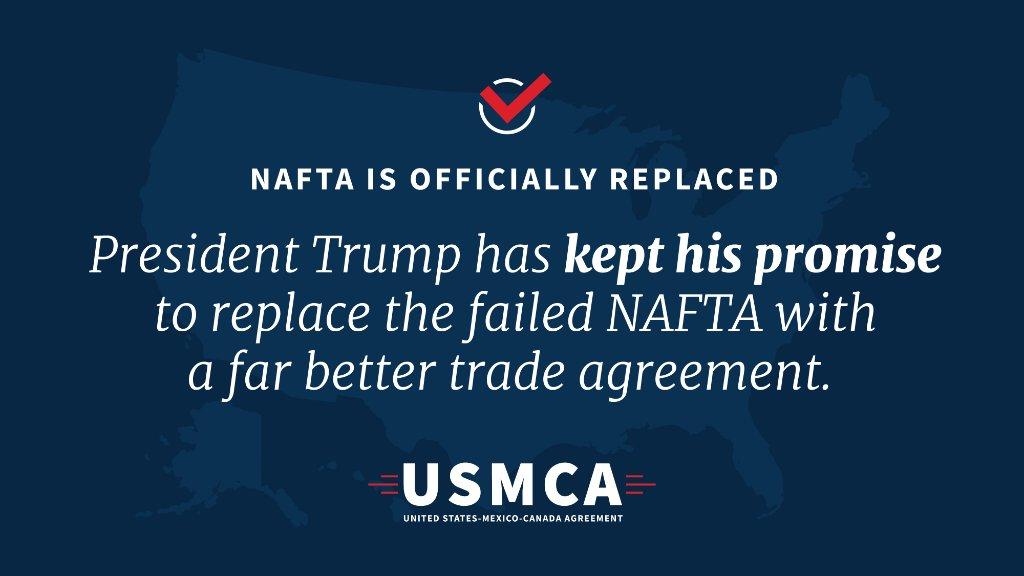 Today marks the beginning of a brand-new era for North American trade! #USMCA