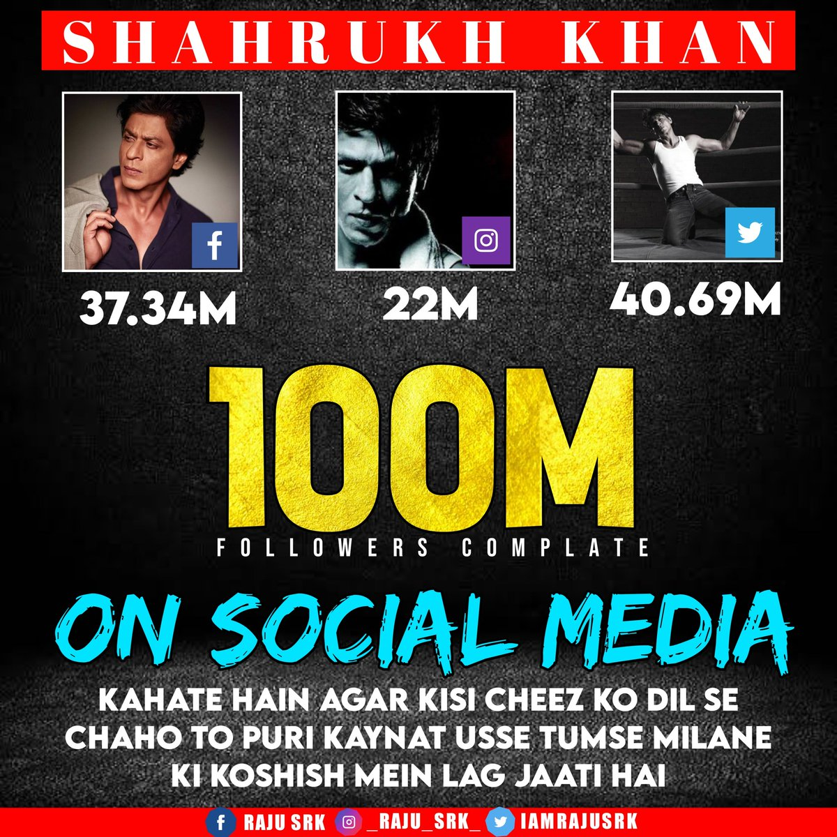 Congratulations @iamsrk for completing 100M followers across social media platforms! ❤️ #SRK100Million