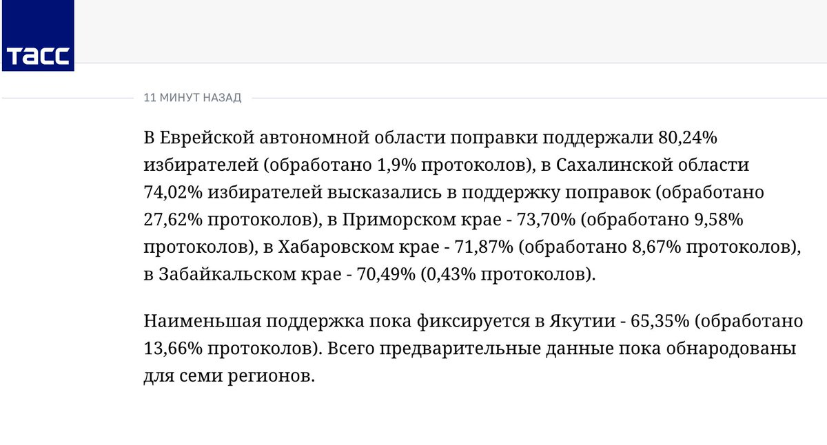 "The Russian Central Election Commission is publishing results of the ""Constitutional Referendum""- SIX HOURS BEFORE POLLING STATIONS CLOSE.  #PutinAtWar  #FakePresident"