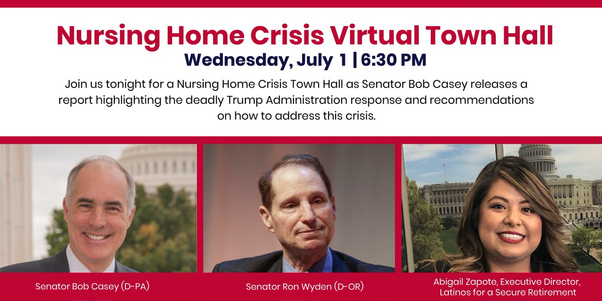 Join @SenBobCasey, @RonWyden & more tonight @ 6:30 PM ET for a #NursingHomeCrisis Town Hall as they release a new report highlighting the Trump Admin's failure to protect nursing home residents & workers from #COVID19.   Event will be streamed live: