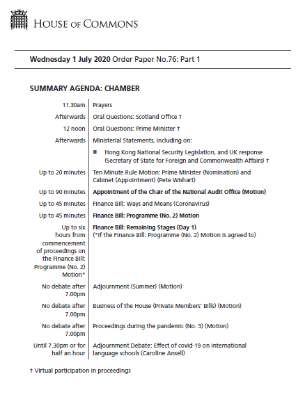 Today, there will be a statement on Hong Kong National Security Legislation and the UK response.  MPs will also debate the remaining stages of the Finance Bill.  #PMQs will start at noon.  Read more in the #OrderPaper: