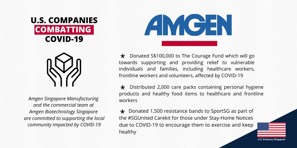 Like many U.S. companies in Singapore, @Amgen has made monetary and in-kind donations to healthcare workers, frontline professionals, and volunteers. It has also encouraged people under Stay-Home Notices during COVID-19 to maintain active lifestyles by donating resistance bands.