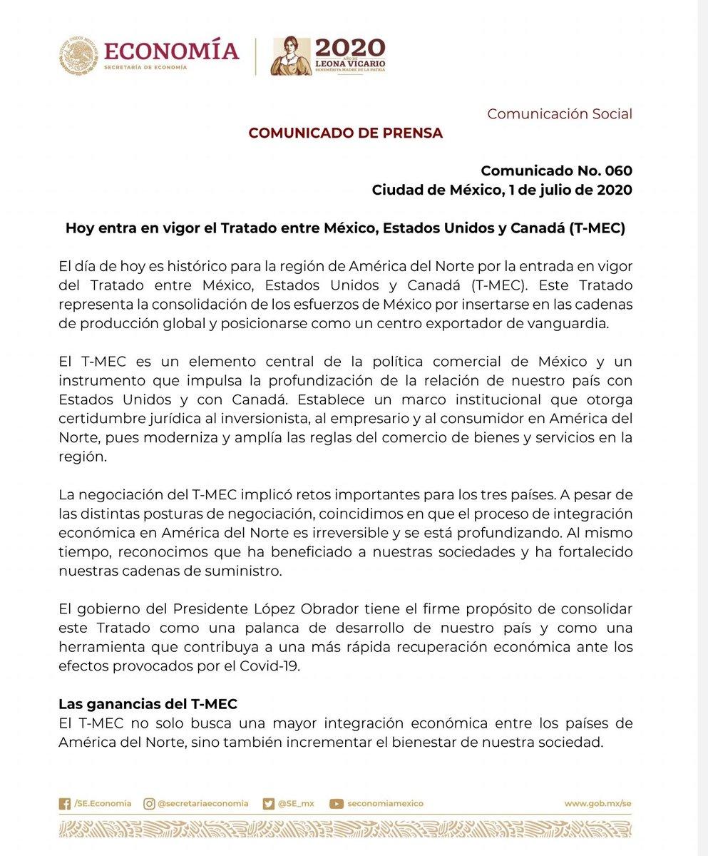 Comunicado | 🇲🇽🇺🇸🇨🇦 Hoy entra en vigor el Tratado entre México, Estados Unidos y Canadá (T-MEC)🇲🇽🇺🇸🇨🇦