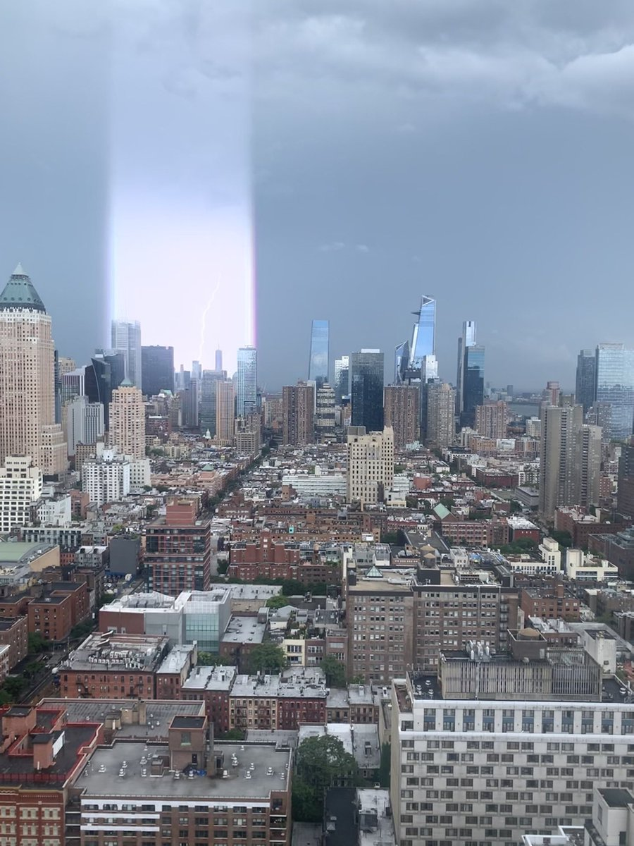 Not a filter- not edited at all. Check out the halo of light striking #NYC just now- #lightning storm