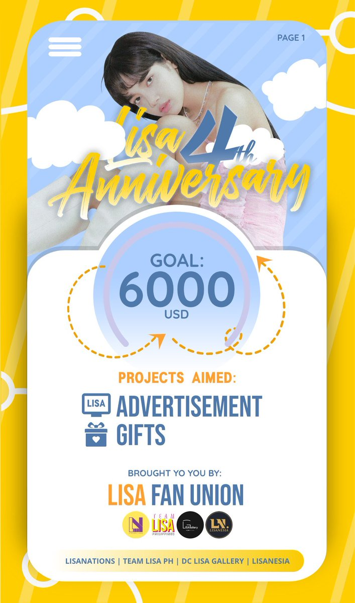 LISA FAN UNION —— LISA 4TH ANNIVERSARY PROJECT  AD and Gifts  GOAL : 6K USD  DEADLINE : July 30   Donate🔗  NOTE : check poster for KR, PH, ID and TH local banks, DM us for MY local bank!  #LISA #리사 #BLACKPINK #블랙핑크 #LALISA @BLACKPINK