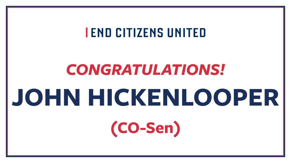 Congratulations, @Hickenlooper! The people of Colorado deserve a Senator who will fight for everyone and work to get Big Money out Politics. Let's get ready to send him to the Senate this fall. #COsen