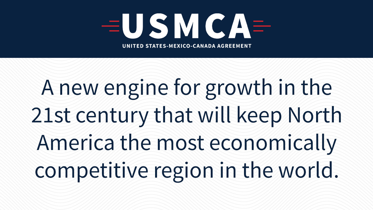 Proud to share that the United States-Mexico-Canada Agreement comes into force today. #USMCA realizes President @realDonaldTrump's promise to upgrade and modernize our trade relations to create new opportunities and increase prosperity for the U.S., Mexico, and Canada.