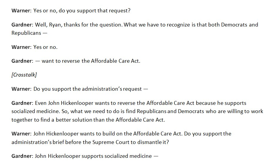 By my count, @cprwarner asked Senator Gardner six times whether he supports the Trump administration's attempts to dismantle the Affordable Care Act and Gardner never answered. #cosen #copolitics  A transcript: