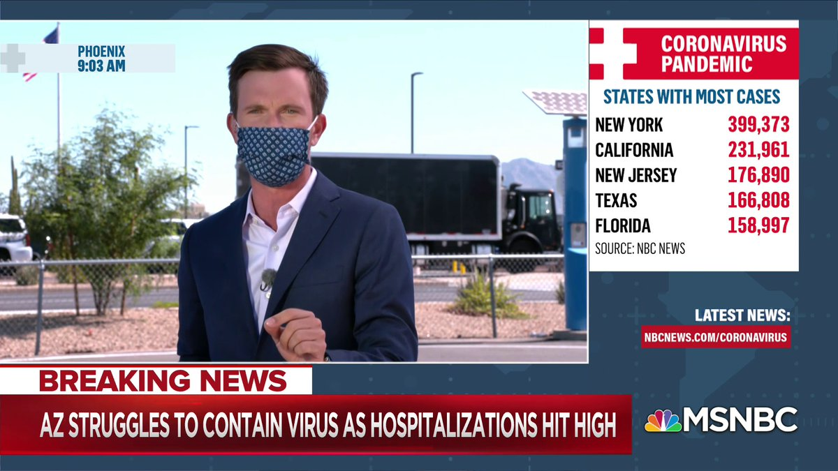 "JUST IN: @VaughnHillyard reports on new coronavirus data in Arizona, including a 28.3% testing positivity rate over the past day.  ""Nearly 1 out of 3 individuals who were tested for COVID in the last 24 hours, their test came back positive. That is a stunning number."""