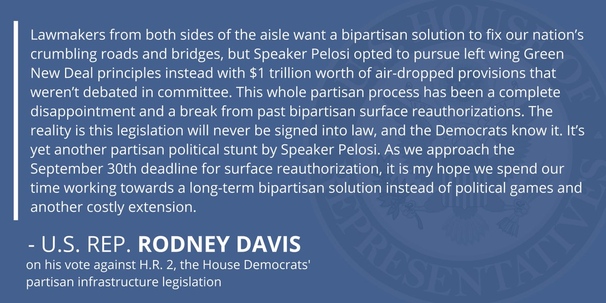 Fixing our nation's roads and bridges isn't a partisan issue. That's why I'm so disappointed Speaker Pelosi opted to pursue Green New Deal priorities instead of a bipartisan solution on infrastructure.  Learn more about why I voted against H.R. 2 here: