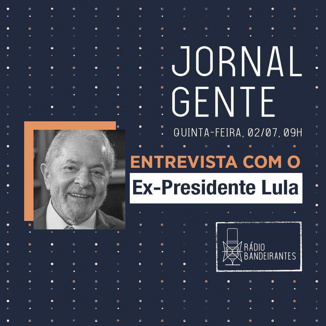 A série de entrevistas da @RBandeirantes com ex-Presidentes da República segue nesta quinta-feira com @LulaOficial. A partir das 09h, no Jornal Gente, com @andradejpaulo, @_thaysfreitas_ e @campospp. Em 90.9FM e 840AM e  Não perca.  #TradiçãoNoRádio