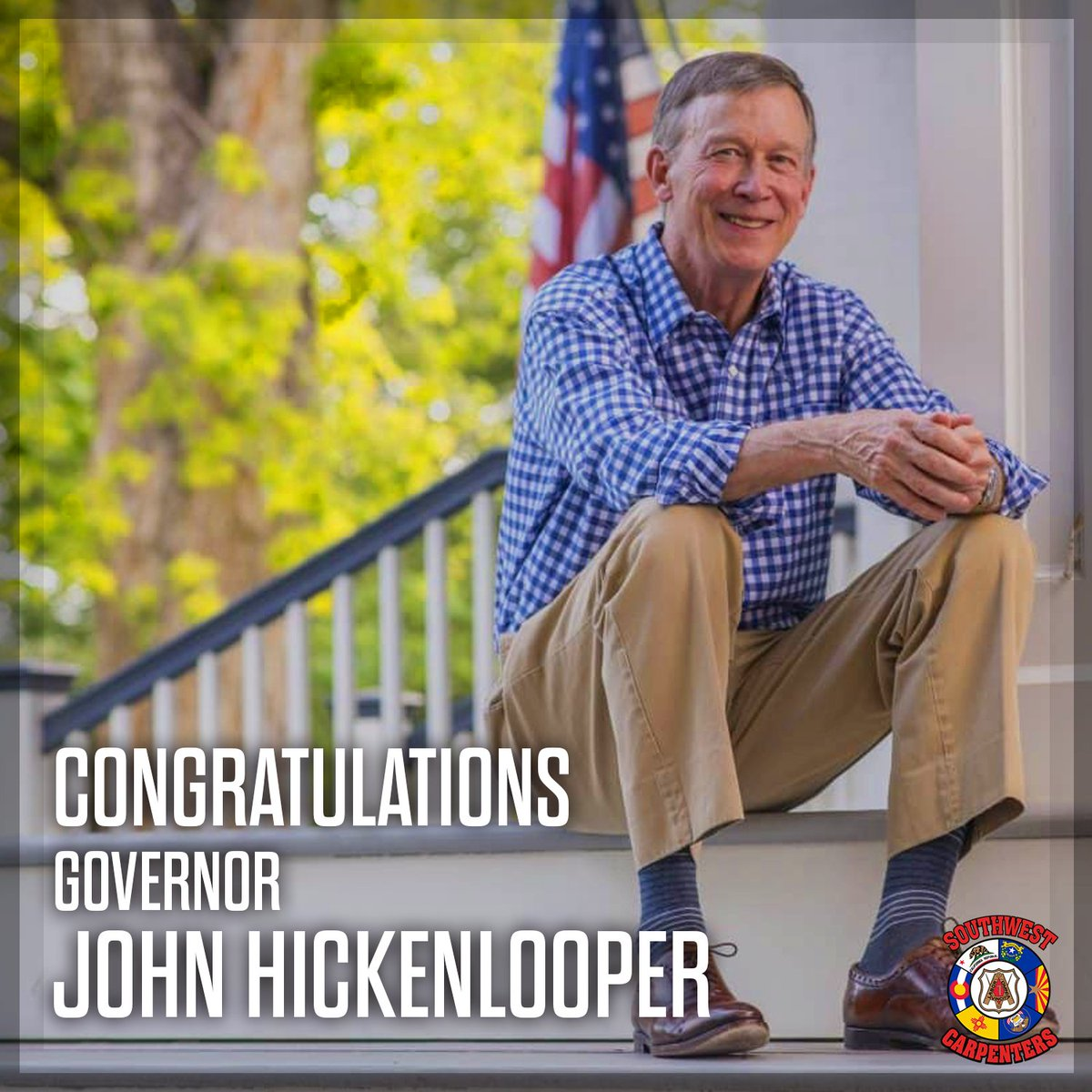 Congratulations to carpenter-endorsed @Hickenlooper on his victory in yesterday's primary! As a US Senator, Governor Hickenlooper will fight to protect our wages & benefits and improve investment in #Colorado's infrastructure! On to November! #SWCarpenters #ColoradoPrimary #COSen