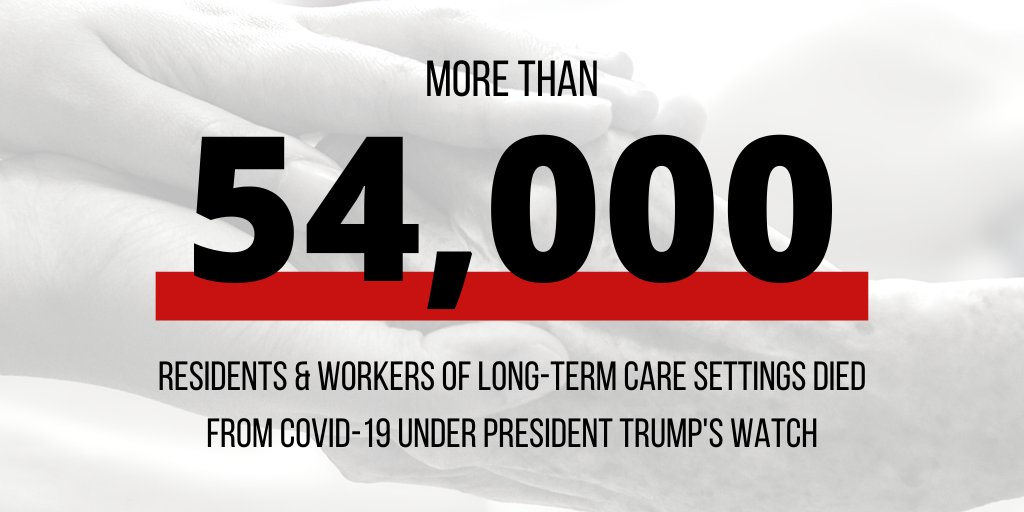 """A new report from @SenateDems shows more than 40% of #COVID19 deaths have been among residents and workers in long-term care facilities. As we know, @POTUS has said """"I don't take responsibility at all."""""""
