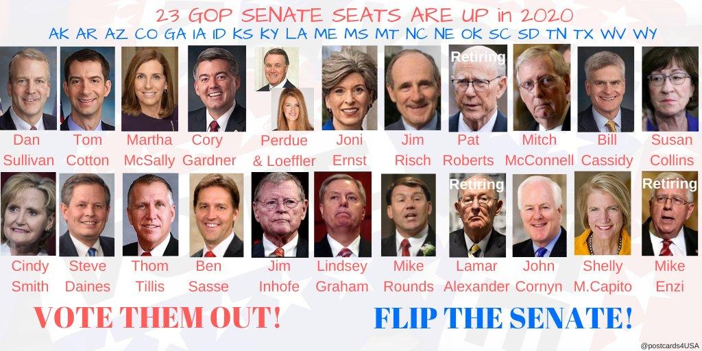 23 GOP Senators up for re-election in 2020  #AK #AR #AZ #CO #GA #IA #ID #KS #KY #LA #ME #MS #MT #NC #NE #OK #SC #SD #TN #TX #WV #WY  #FlipTheSenate  THREAD of postcards & links Democratic Challengers for GOP seats #Senate2020  per @Politics1com @ballotpedia  #23GOP *JULY update