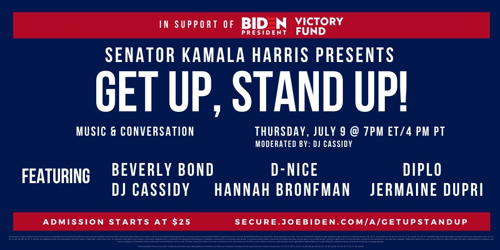 Join me and our nation's top DJs for #GetUpStandUp2020—a virtual dance party in support of @JoeBiden. Get your tickets now: