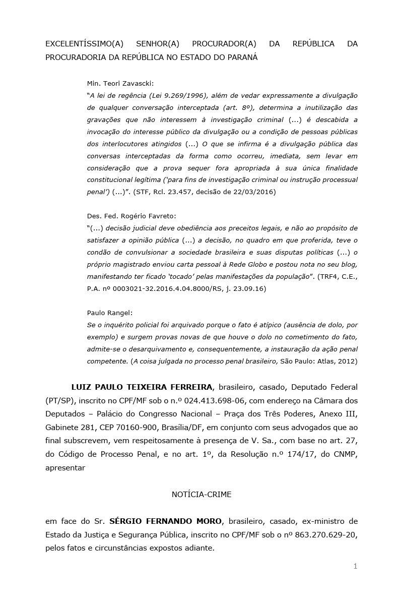 O pedido de investigação sobre Sergio Moro.