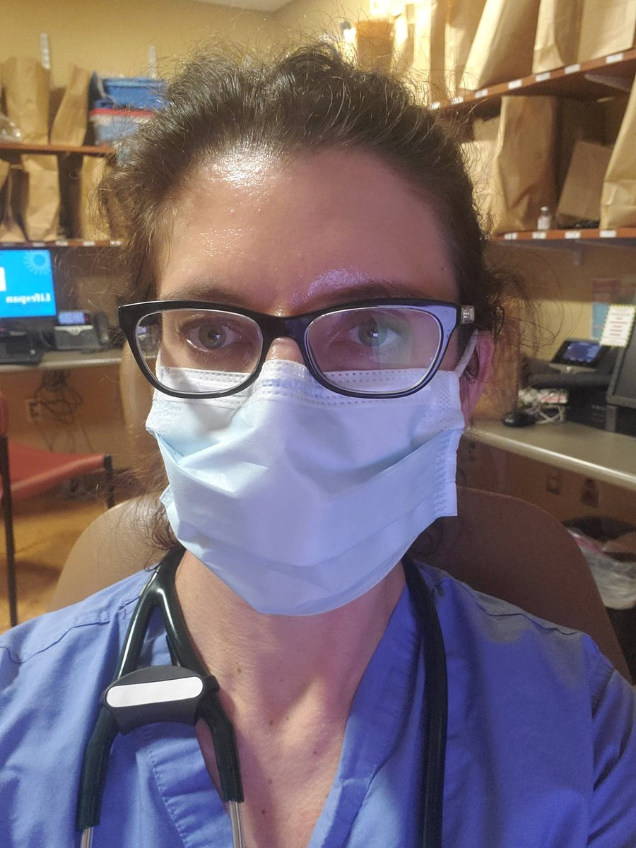 Going on hour 6 in a mask. Hey, I feel just fine!   Post your pics 😷 #WearAMask #covid19   [Ps, all those bags = all of our N95s and goggles that we reuse, to conserve our supply.]