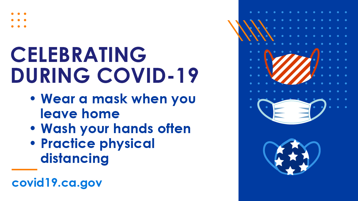 #COVID19 didn't disappear when summer began. The virus is still here and still spreading.  This July fourth weekend, wear a mask, keep your distance from others and wash your hands. #YourActionsSaveLives