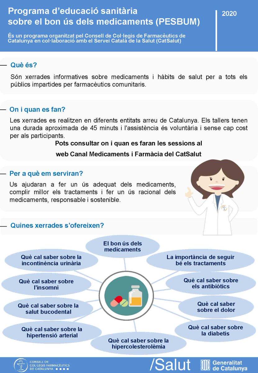test Twitter Media - 📌 Coneixes el Programa d'Educació Sanitària Sobre el Bon Ús dels Medicaments (PESBUM)?  Són xerrades informatives sobre medicaments 💊 i hàbits de salut 🥗🏃💧 per a tothom impartides per farmacèutics comunitaris.  ℹ️ Més info: https://t.co/5y54HfUoJ8   @salutcat @ccfcat https://t.co/HPlZDLEjo4