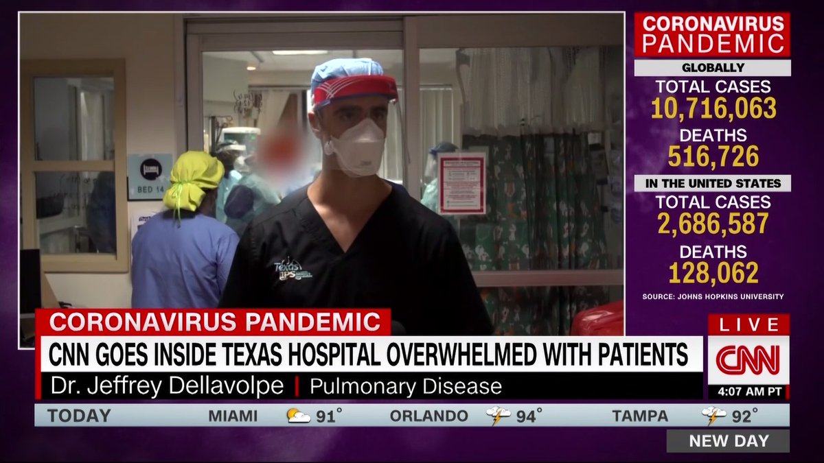 """JUST NOW:  """"Overwhelmed.""""  My friend/hero @miguelmarquez with a brave/sensitive/crucial piece on a TX hospital inundated with COVID cases this morning.  Watch and share.  I don't know if people realize this is happening.  @NewDay"""