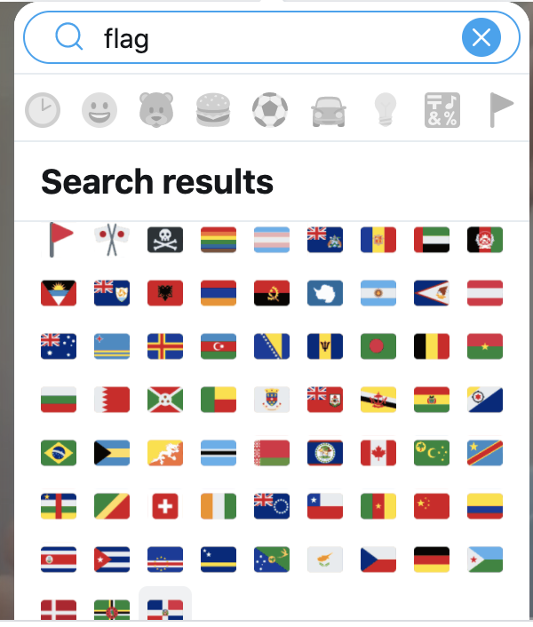 Un-Freakin-Believable I searched flag in emojis  Guess which flag is missing?  That's right The Stars & Stripes of the good old USA🇺🇸🇺🇸🇺🇸  We have the flag of Eritrea & the gay pride one though Even in a search for US flag it comes in 9th 🤡🌎