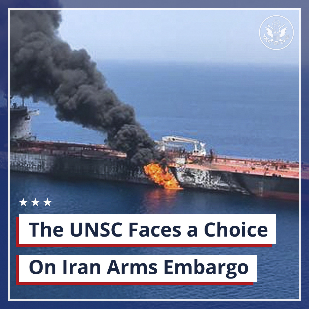 The UN Security Council has a simple choice to make on the arms embargo. It can either stand for international peace and security or betray the values it has pledged to uphold. The reckless and irresponsible Iranian regime must not have free access to destabilizing weaponry.