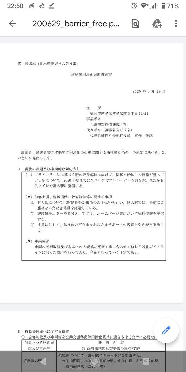 test ツイッターメディア - JR九州の移動円滑化取り組み計画書  今年度は 821系3本 YC1系18両 811系リニューアル3本 https://t.co/0RmfiuJETt