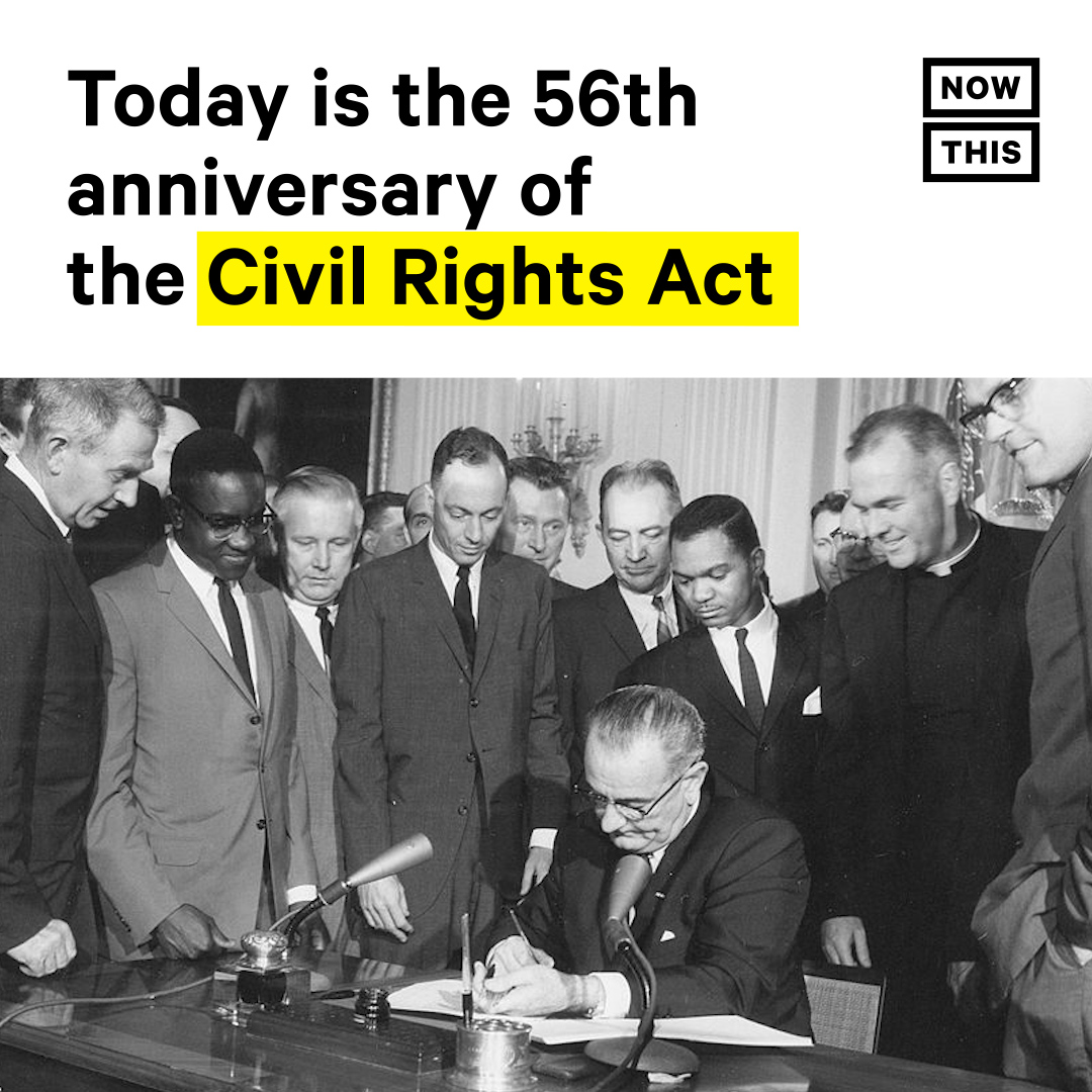 Pres. LBJ signed the Civil Rights Act on 7/2/64, with MLK Jr. and other civil rights leaders in attendance. It outlawed discrimination on the basis of race, color, religion, sex, or national origin, while enforcing desegregation and equal access to public places and work