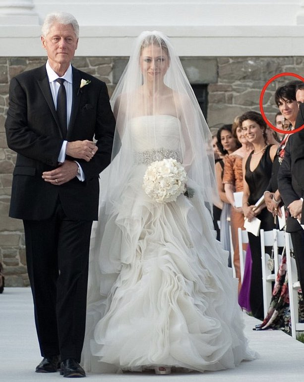 Here's #GhislaineMaxwell at Chelsea Clinton's wedding. Was she prospecting there for underage recruits, or was she invited because of previous favors extended to the bride's father?