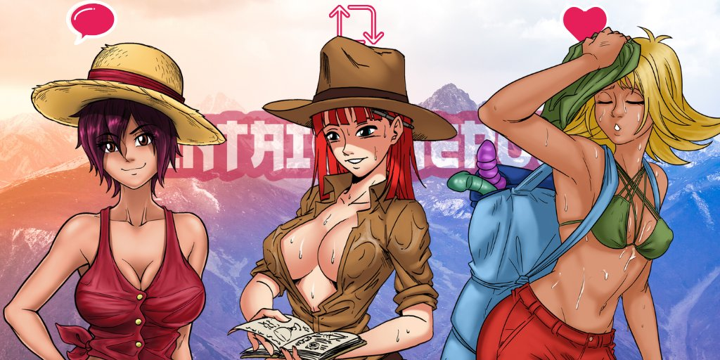 Explore the naughty regions of the Haremverse with a sexy weekend trip, darling hero!😍😎🎒 Camp out 🏕️ with flexible Naisha by commenting, get rock hard 🗻with Juliette by retweeting & run up that hill to catch up to kinky Zoe 👅 by liking! #hentai #manga #lewd #anime