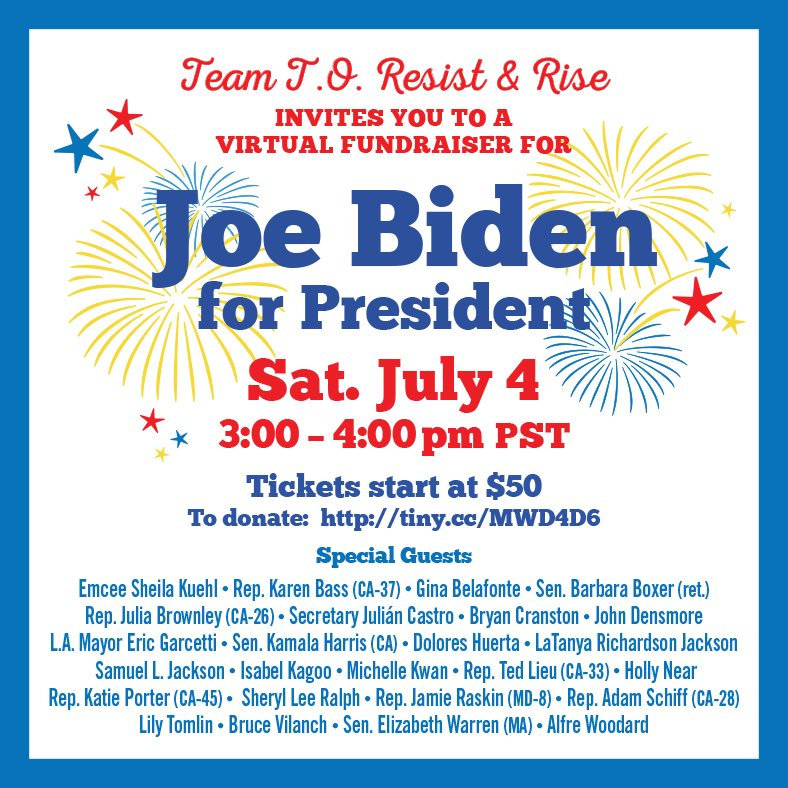 I'm proud to be part of an exciting virtual fundraiser for Joe Biden for President on July 4th where we'll declare our independence from the disastrous Trump Administration. Tickets start at just $50.  Go to  and join me there!