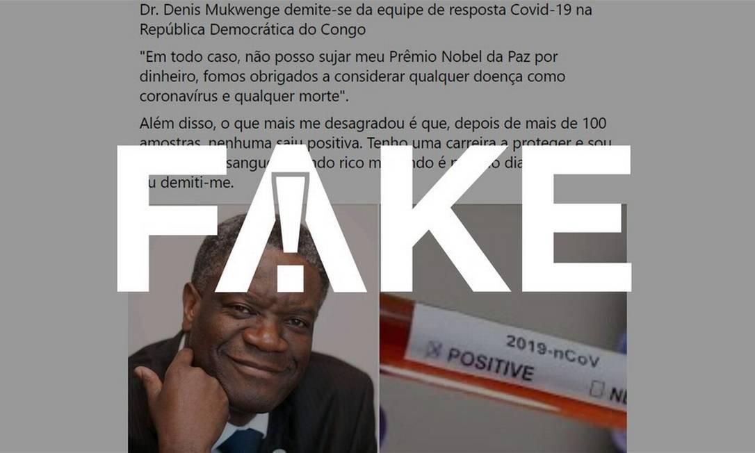 É #FAKE que médico congolês Prêmio Nobel da Paz disse que deixou cargo por ser obrigado a falsear dados da Covid-19
