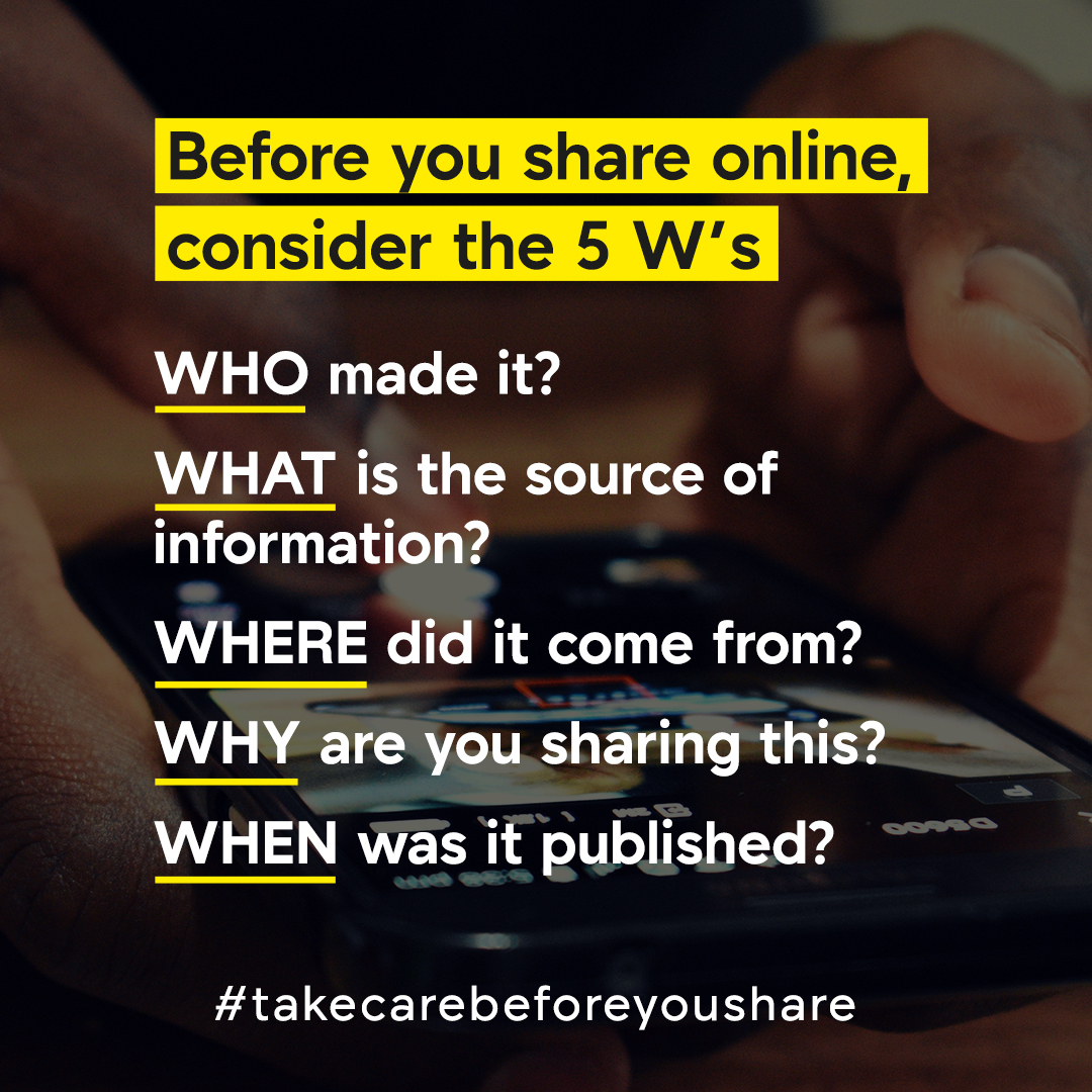Misinformation is spreading faster than #COVID19 itself, disrupting public health efforts & distorting sound scientific guidance.  We can all take action now to prevent the spread of misinformation. Pause and #TakeCareBeforeYouShare.