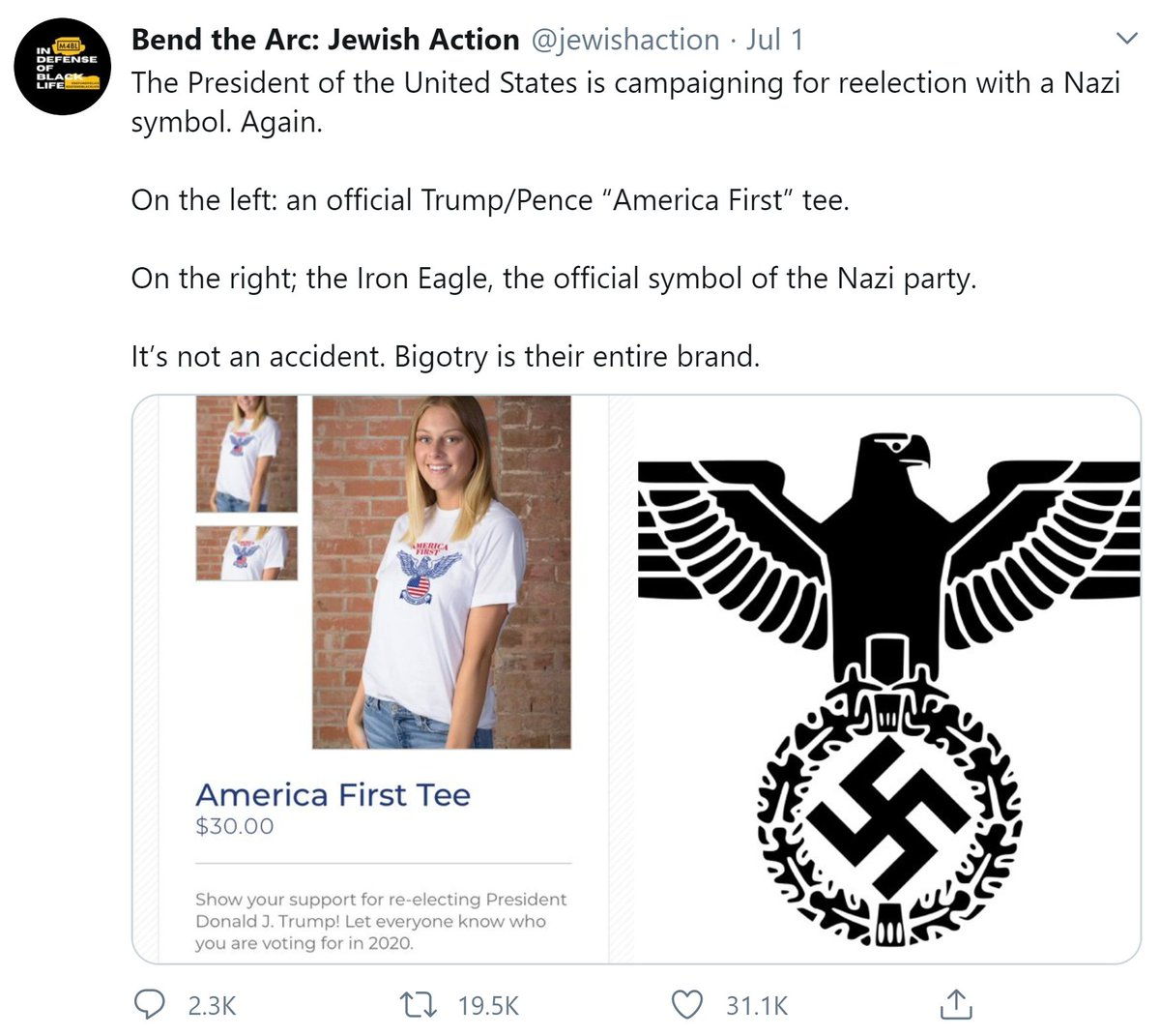 This is just a stock clip art image of an American eagle + flag by an artist who also does Jewish-themed art:  There are so many terrible things to worry about from this administration, we do not need to invent new ones. Save your energy for the real stuff!