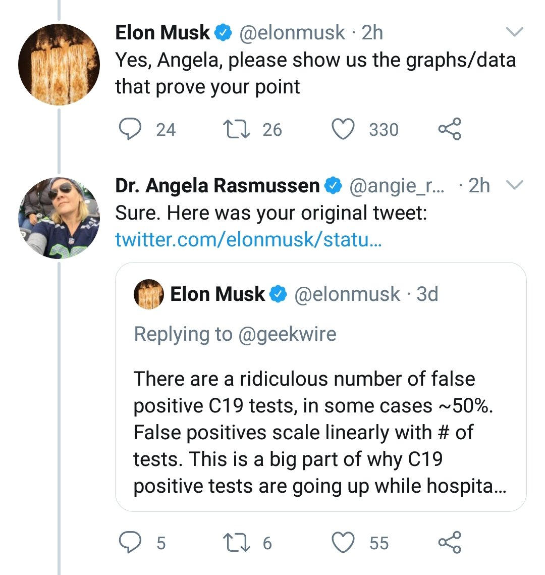 """Elon Musk is attempting to mansplain the pandemic to a LITERAL virologist & Assoc. Research Scientist at the Center of Infection & Immunity at Columbia University.  Reminder that @elonmusk ALSO claimed there would be """"close to zero new cases"""" by the end of April. @angie_rasmussen"""