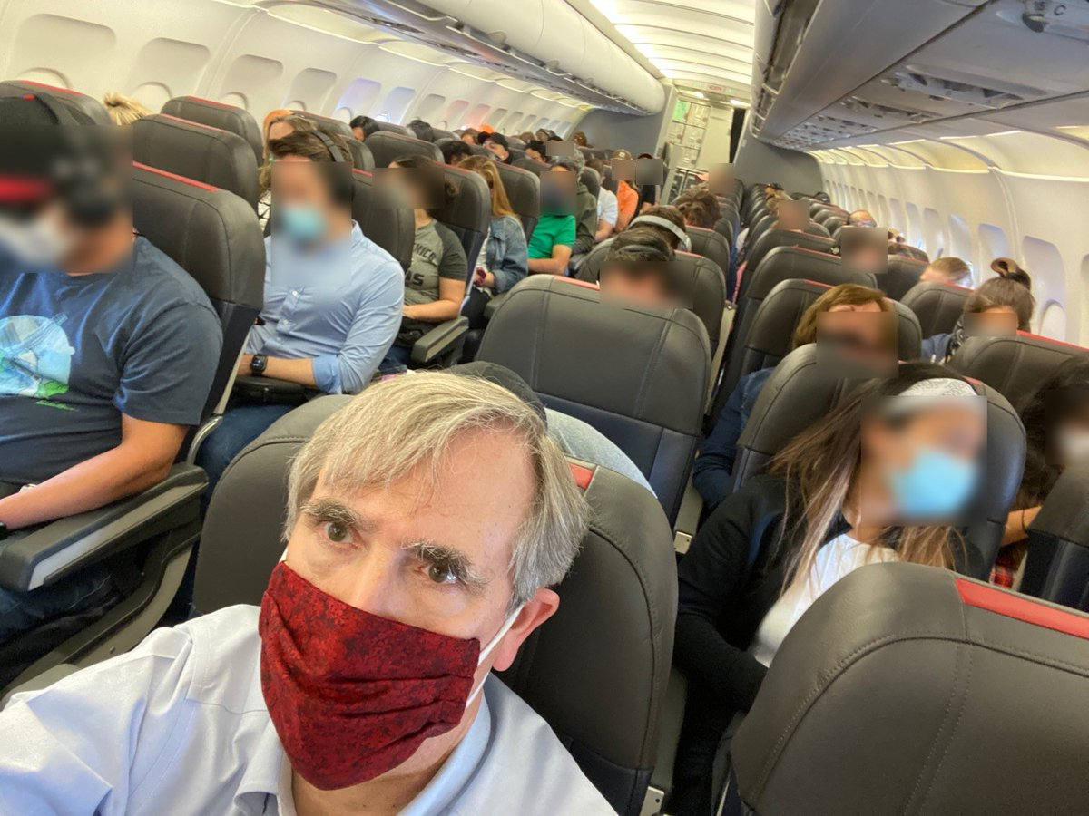 .@AmericanAir: how many Americans will die bc you fill middle seats, w/ your customers shoulder to shoulder, hour after hour. This is incredibly irresponsible. People eat & drink on planes & must take off masks to do so. No way you aren't facilitating spread of COVID infections.