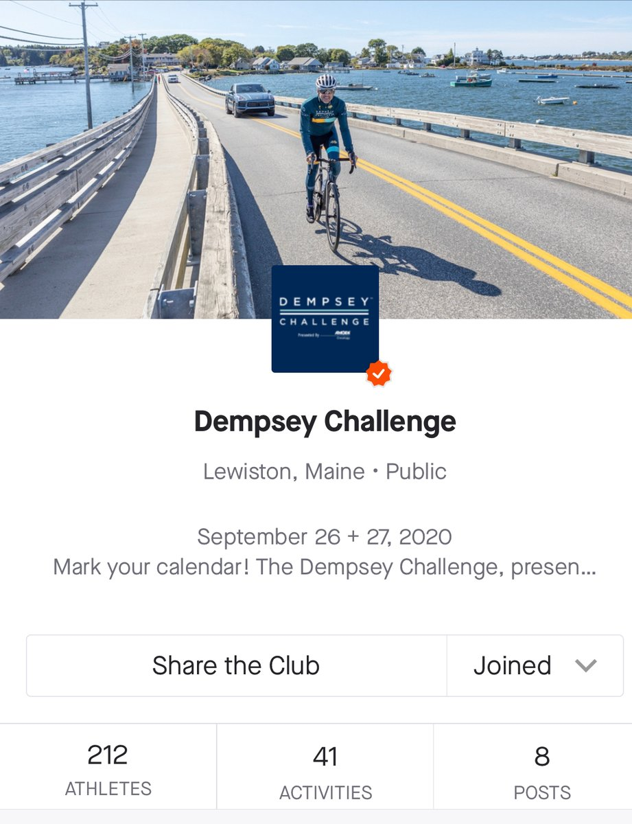 Our @strava club is growing and we'd love to have you join us.   This is a great way to connect with participants from around the world and to stay motivated as you prepare for Dempsey Challenge weekend - September 26 + 27.   Join us ->  