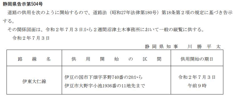 test ツイッターメディア - 本日の静岡県公報。国道136号(伊豆中央道)に続き今度は伊東大仁線です。伊豆の国市の供用開始が続きます。 本日(7月3日)の午前9時供用開始です。 『下畑字茅野740-□』が旧・大仁東小の西にあり、画像の区間伊東方面車線の登坂車線追加工事をしていたのでこの場所かなと思います。違ってたらすみません https://t.co/hE288zINt2