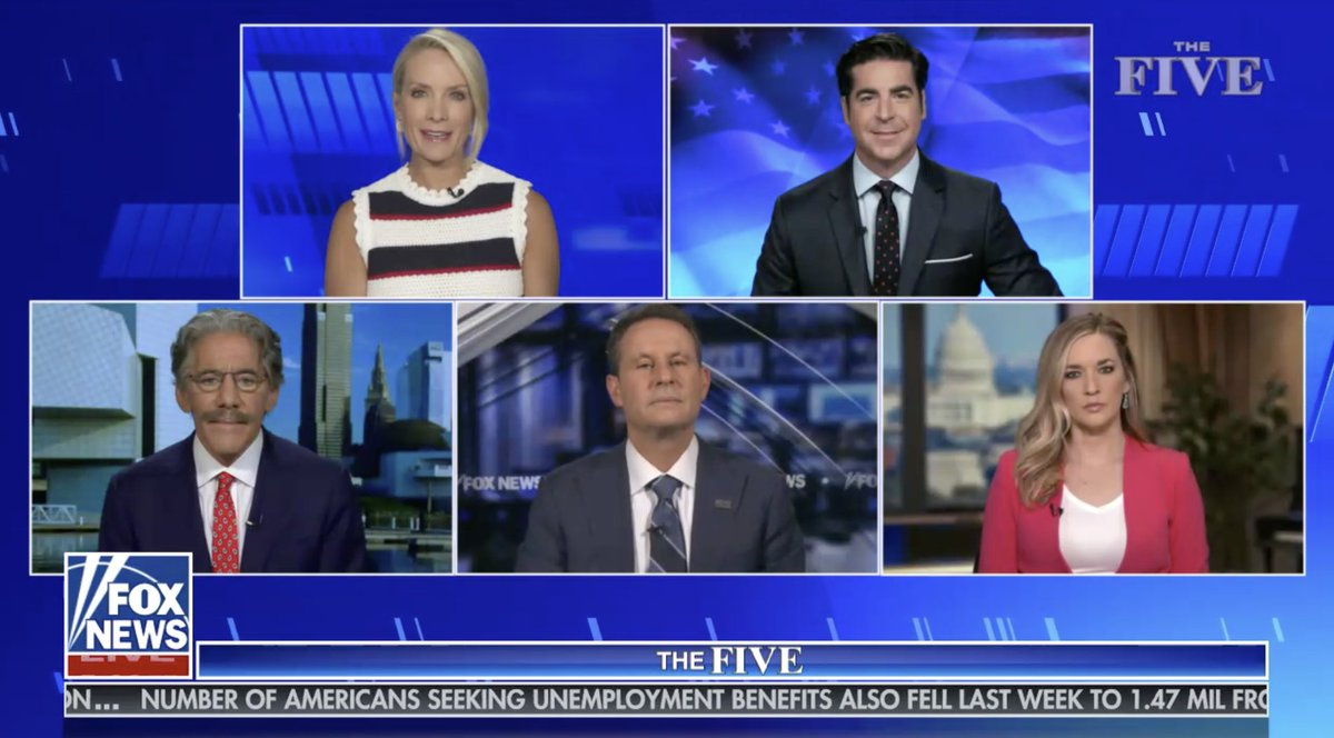 Today Brian @kilmeade is in for @greggutfeld and @GeraldoRivera fills in for @TheJuanWilliams with @KatiePavlich in the rotators' square and regulars @DanaPerino and Mr @JesseBWatters. @TheFive is LIVE at Five!