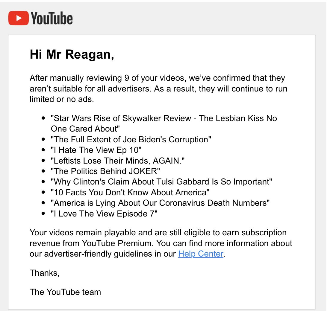 More random censorship from YouTube of conservative content. Let's not let the world hear ideas we don't like. 🙄🙄🙄