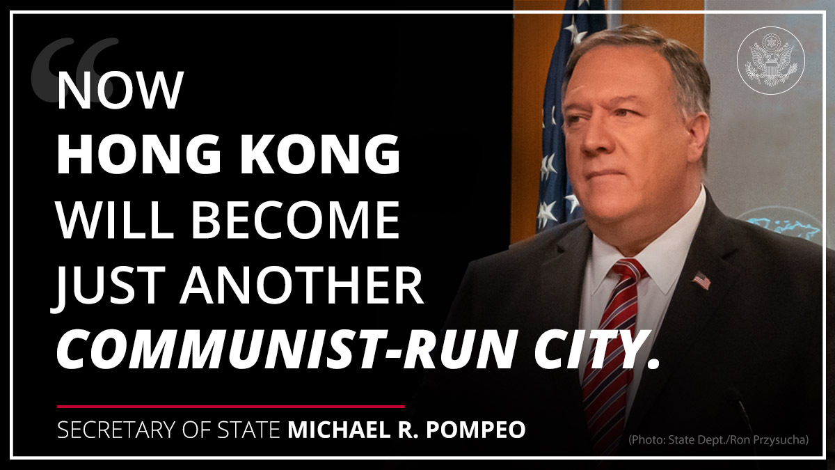 The CCP implemented its national security law on Hong Kong, in violation of the commitments it made to the Hong Kong people– and disregarding Hong Kongers' human rights and fundamental freedoms. A free Hong Kong was one of the world's most stable, prosperous, and dynamic cities.