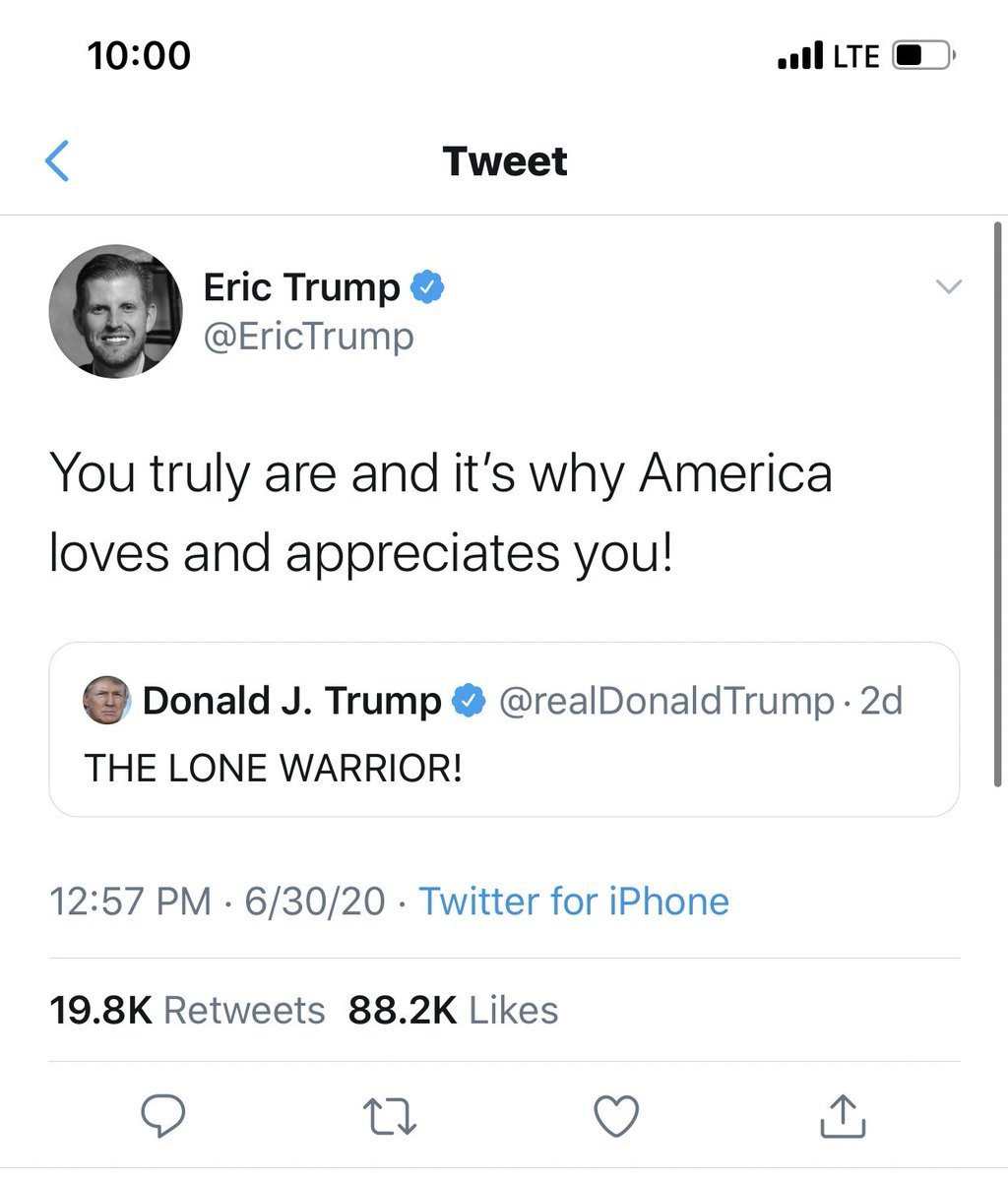 He still won't retweet you, Eric.