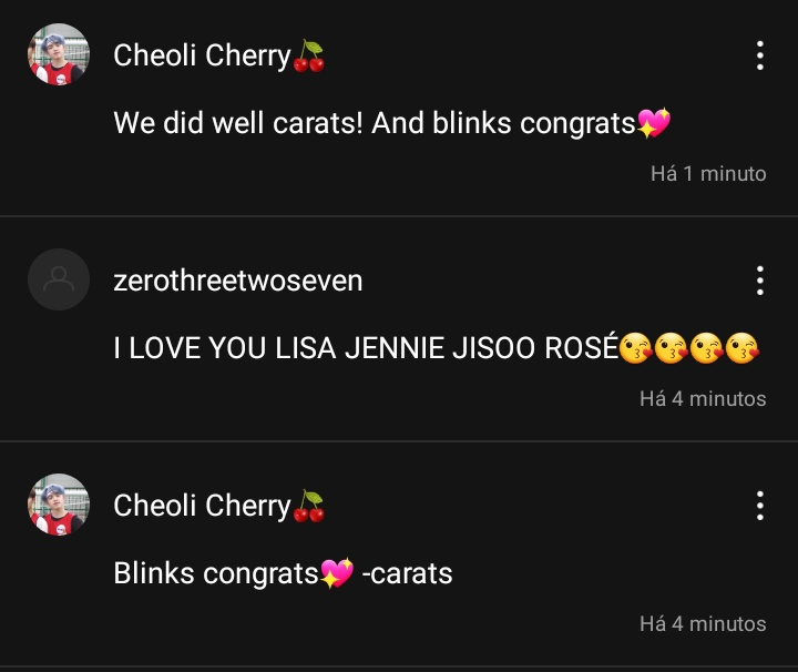 I just saw some comments from carats congratulating the blinks and BLACKPINK and I would like to do the same, it was an honor to be able to compete with your fandom, let's keep this spirit, congratulations to all the carats and SEVENTEEN for this comeback.  @BLACKPINK @pledis_17