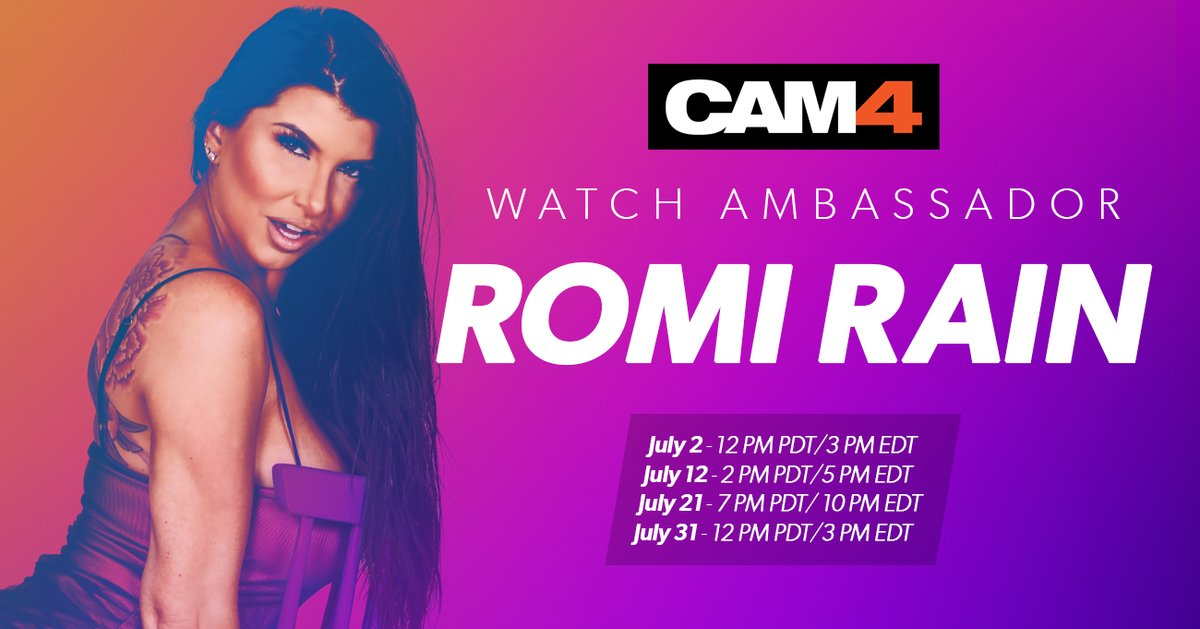 🚨 🚨 🚨 🚨  Cam-superstar and #CAM4Ambassador @Romi_Rain's July schedule is HERE! 😎 😍 💋 #CometoCAM4