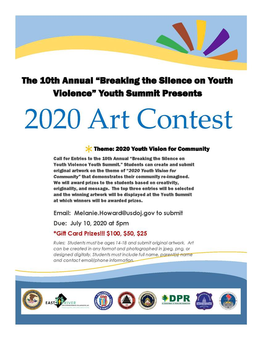 Calling all youth artists! Calling all youth artists! In anticipation of our first ever Virtual Youth Summit this year, students can enter an art contest. Deadline is July 10th at 5 p.m. See attached flyer for details. #youthsummitDC2020