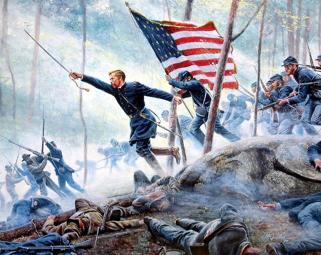 #OTD in 1863, Colonel Joshua Chamberlain led his famous charge down Little Round Top to repel a Confederate advance at #Gettysburg. The Union Army held its flank, and Chamberlain was awarded the Congressional Medal of Honor for his actions.