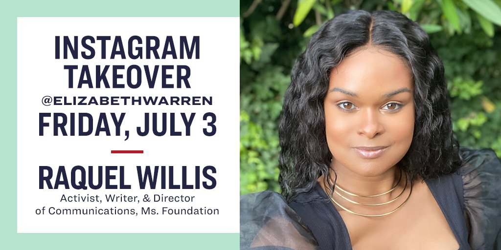Tomorrow I'll be handing over my Instagram account to @RaquelWillis_. She's dedicated her life to fighting for LGBTQ+ equality and racial justice, and I can't wait to hear more from her.   I hope you'll tune in!
