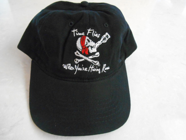 TIME FLIES WHEN YOU'RE HAVING RUM Embroidered Black 100% Cotton Adult Cap NEW #New #Time #Flies #Having #Rum #Embroidered #Black #Cotton #Cap #Pirate #Treasure #ebayseller
