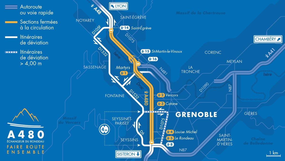 🚧 Fermetures #A480 et #A48 cette semaine  L'A480 et l'A48 seront fermées les nuits du 22 au 25 juin :  - vers Sisteron : entre Saint-Égrève et le Rondeau de 20 h 30 à 6 h - vers Lyon : entre le Rondeau et Saint-Égrève de 21 h à 6 h.  Plus d'infos sur :